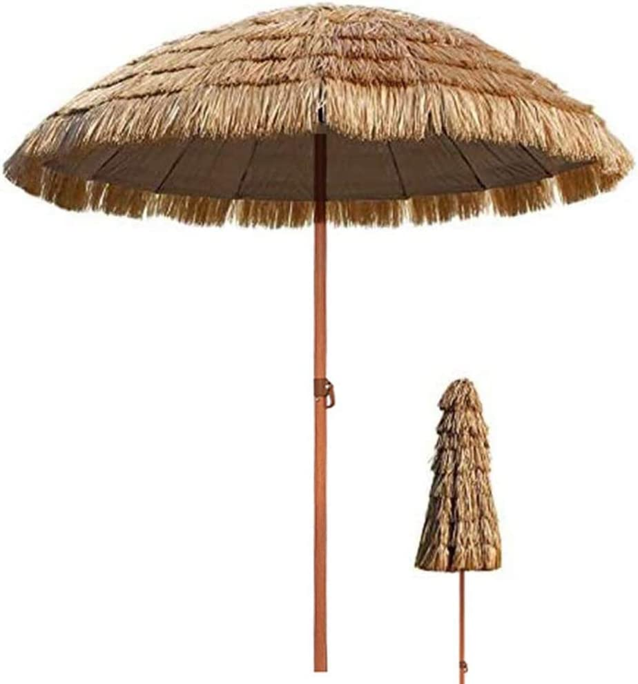 ZJM Sombrillas para Patio Sombrilla de Paja Tropical, Paraguas Inclinable Impermeable para Patio de Piscina, para Viajes Al Sol y Al Aire Libre, Sombrilla de 240cm / 280cm (Size : 7.8FT)