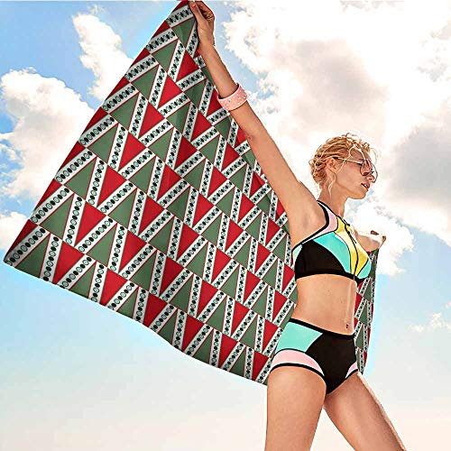 Personalized Microfiber Beach Towel for Kids Geometric,Traditional Christmas Motifs with Polka Dots and Abstract Tree,Reseda and Almond Green Red,Suitable for Home,Travel,Swimming Use 32