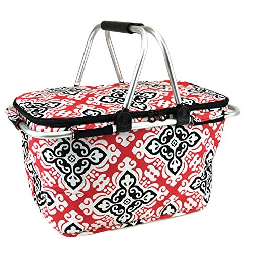 Floral Cross Print Metal Frame Insulated Market Tote