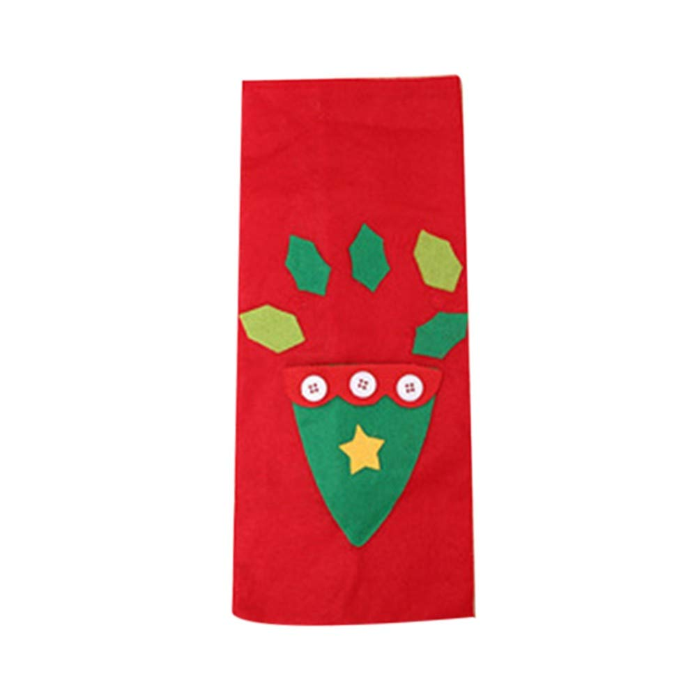 Lotus.flower Christmas Wine Bottle Cover, Christmas Tree&Gift Pattern Wine Bottle Cover Christmas Decorations Christmas Sweater Party Decorations (C, 30x13cm)