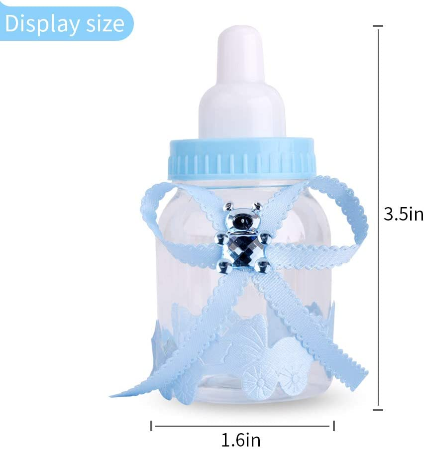 Decoration Party Favors CtopoGo 24 PCS Fillable Bottles Candy Box Baby Shower Baptism Party Favour Christening With Bear Baby Shower Kids Party Favour Blue