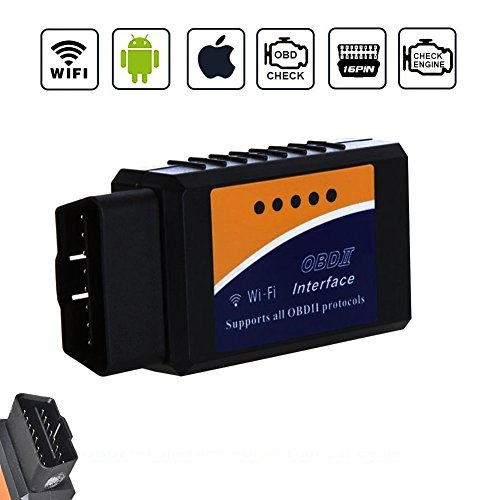 Golvery Car WIFI OBD OBD2 OBDII Diagnostic Scan Tool, Mini WiFi OBD Scanner Adapter, Check Engine Light Diagnostic Trouble Code Reader for Most Vehicles, for iOS, Android & Windows Phone, PC, iPhone