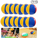 Inflatable Beach Balls Set of 12, Classic Rainbow Color Birthday Pool Party Favors Summer Water Toy Fun Play Game for Boys Girls, 8 to 12 Inches from Inflated to Deflated.