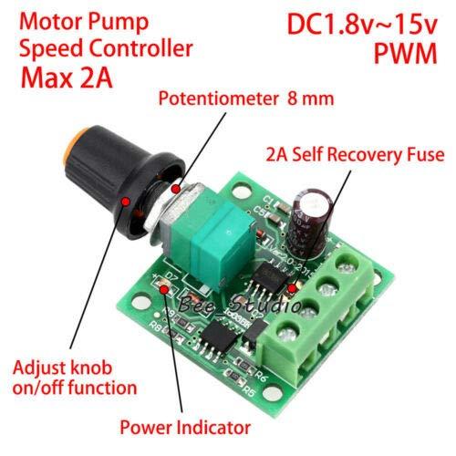 LeLeShop 1.8V-15V 3V 5V 6V 9V 12V 2A Mini PWM DC Motor Speed Controller Regulator Switch TM