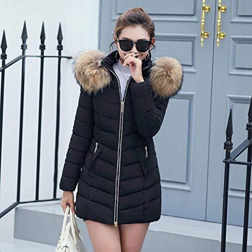 C Piumini Fashion Donna Hx Caldo Invernali Tasche Laterali Lunga Nero Cappotti Monocromo Manica PawwqxA