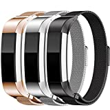 Fitbit Alta Metal Bands, SailFar 3PCS Milanese Loop Stainless Steel Replacement Accessories Bracelet Strap Watch Band for Fitbit Alta, Small/Large, Men/Women, Silver, Black, Rose Gold