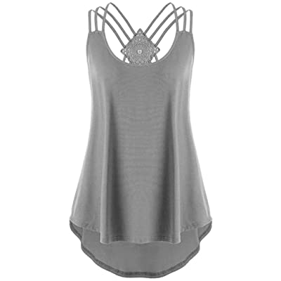 BODOAO Women Sleeveless Tank Tops Sunflower Print Bandages Vest Top Strappy Shirt: Clothing