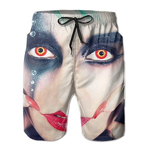 HFSST Cool Halloween Red Lips Black Eye Shadow Orange Pupil Girl Men Kid Male Summer Swimming Pockets Trunks Beachwear Asual Shorts Pants Mesh -