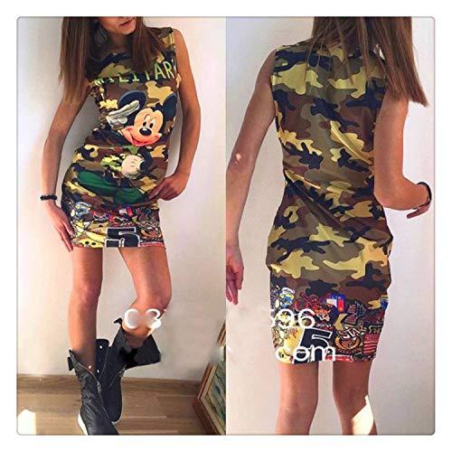New Sexy Bag Hip Dress Print Fashion Pattern Camouflage/Mickey/Red Heart Round Neck Pullover Women's Black Mini Dress mq01 L]()
