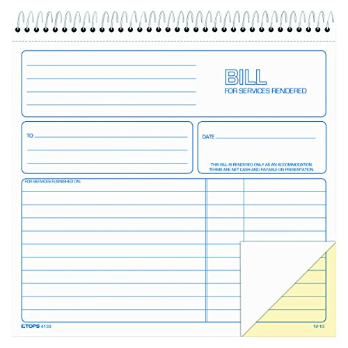 TOPS 2-Part Carbonless Bill for Services Rendered Book, 8.5 x 8.25 Inches, 50 Sheets, White, (4133)