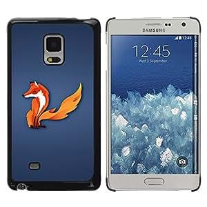 QCASE / Samsung Galaxy Mega 5.8 9150 9152 / zorro bosque cola animal arte blanco rojo de cuento de hadas / Delgado Negro Plástico caso cubierta Shell Armor Funda Case Cover