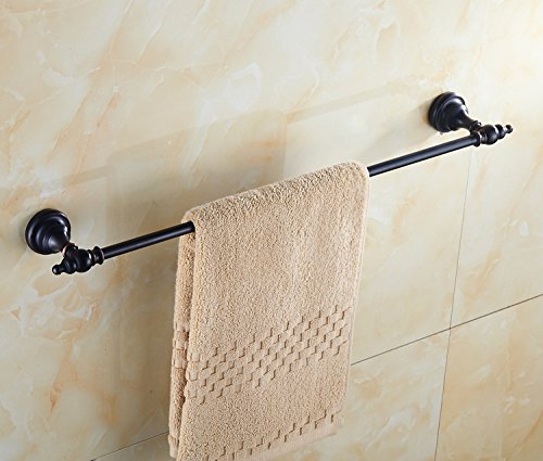 (CLG-FLY Copper Black Round Large Chassis, Single Pole Towel Rack, Single Pole Shower Towel Hang Rod, Bronze Drawing Towel Stand,Making Your Bathroom)