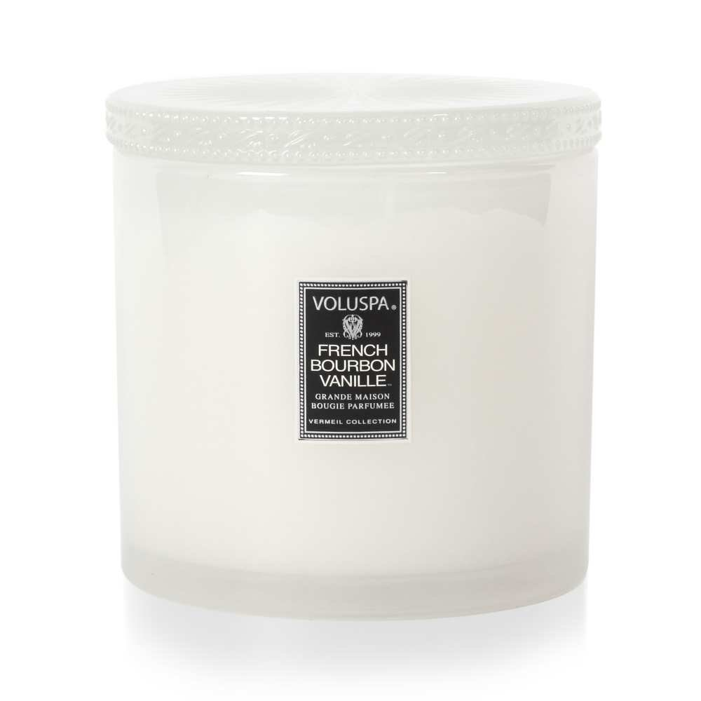 Voluspa French Bourbon Vanille Grande Maison Candle with Lid 36 oz