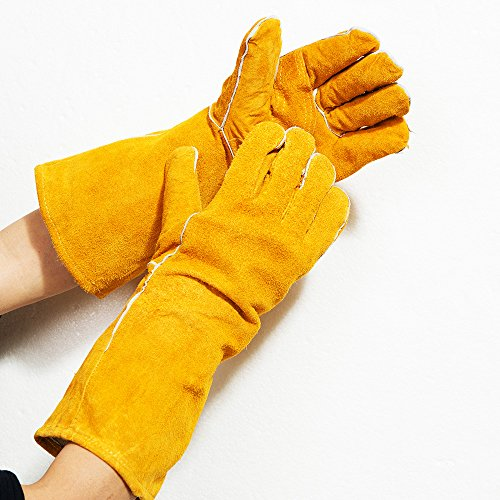 Yellow Large Cowhide Suede Kevlar/Leather Welding Glove - Wing Thumb - Fully Welted, Kevlar Stitching, Reinforced Thumb