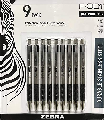 Zebra Ball Point Pen F-301 (9 Pack)