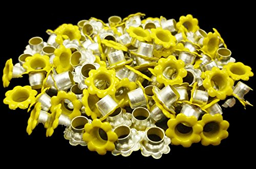 ARTS AND CRAFTS SUPPLIES 100pcs Aluminium Yellow Flowers Eyelet Scrapbooking Card Hole LeatherCraft Snap Punch E064