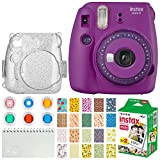 FUJIFILM INSTAX Mini 9 Instant Film Camera (Purple with Clear Accents) + Instax Film (20 Shots) + Glitter Clear Case + Scrapbooking Album + 6 Colored Lens Filters + 20 Sticker Frames Nature Package