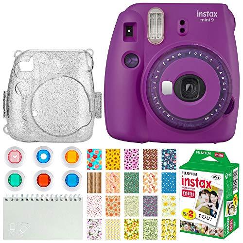 Fujifilm Instax Mini 9 Instant Camera + Fujifilm Instax Mini Twin Pack Instant Film (20 Exposures) + Glitter Hard Case + Colored Filters + Album (White) + Sticker Frames Nature Package (Purple)