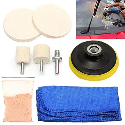 ZHUOTOP Wool Felt Disc Polishing Pads and Backing Pad with M10 Drill Adapter Kit, Cerium Oxide Glass Polishing Powder to Grind and Polish Car Glass ()