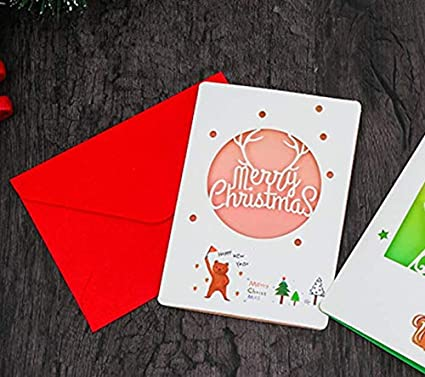 ALXCD 12 Pcs Foldable Small Size Retro Brown Paper Greeting Cards /& Envelopes for Christmas 2X6 Retro Merry Christmas Greeting Cards 12cm * 8cm