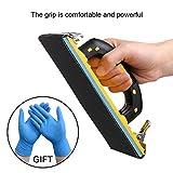 Hand Sander Holder Sandpaper Tool With Soft Sponge Pad Rubber Handle for Grind (7.08x3.35 inches) Free Nitrile Gloves