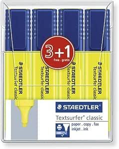 Staedtler texsurfer Classic Pack de 4 subrayadores, color amarillo neón: Amazon.es: Oficina y papelería