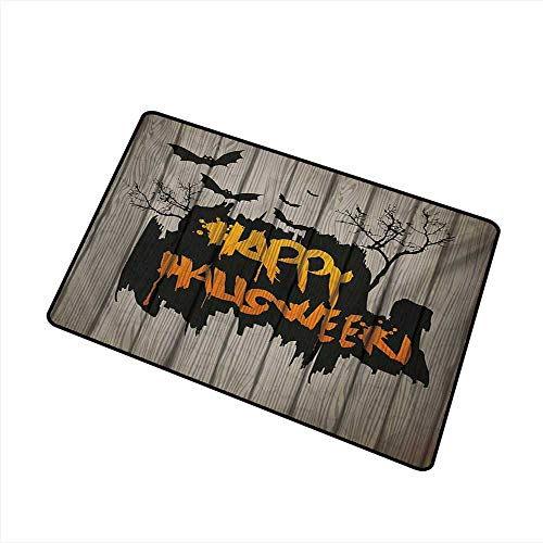 Axbkl Interior Door mat Halloween Happy Graffiti Style Lettering on Rustic Wooden Fence Scary Evil Holiday Artwork W35 xL59 Anti-Fading -