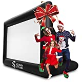 Inflatable Movie Screen Outdoor - Screens for Christmas Movies Outside - Mega Blow Up Rear Projection - Just Set Up Your Projector + Speakers - Package Inc Frame, Blower, Pegs, Popcorn Bags
