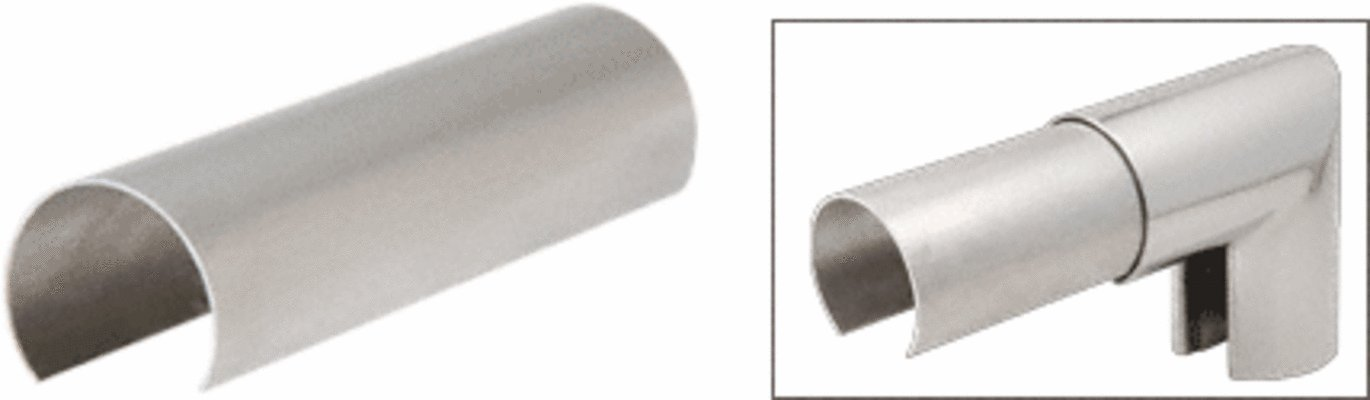 C.R. LAURENCE GR30CSS6 CRL 316 Stainless Steel 3'' Connector Sleeve for Cap Railing, Cap Rail Corner, and Hand Railing