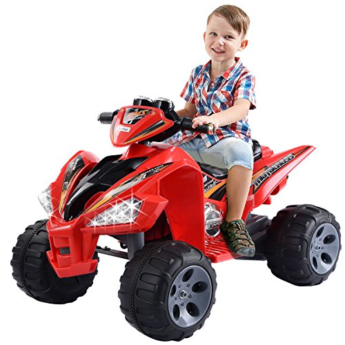 Giantex Kids Ride On ATV Quad 4 Wheeler Electric Toy Car 12V Battery Power Red (Four Wheeler Quad)