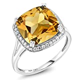 6.09 Ct Cushion Yellow Citrine and White Diamond 10K White Gold Women's Ring (Available in size 5, 6, 7, 8, 9)