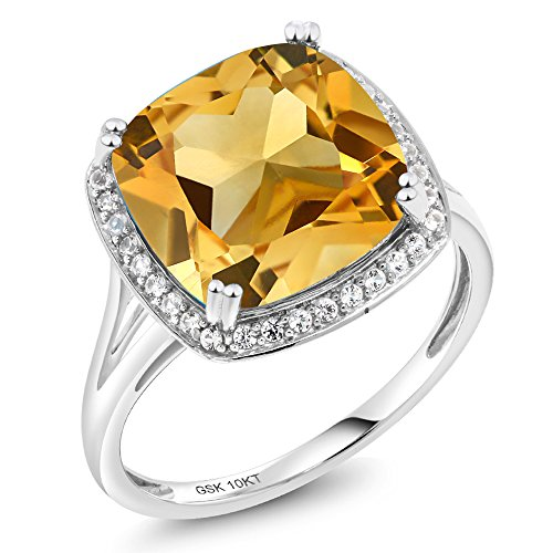 6.09 Ct Cushion Yellow Citrine and White Diamond 10K White Gold Women's Ring (Ring Size 7) (Ring Diamond Citrine And)