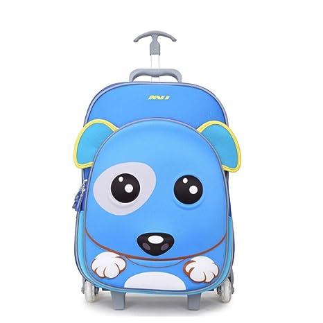 QPYC Niños Mano Carros Mochila Equipaje Caja La escuela rueda el recorrido del ocio 20-35L , Blue cat: Amazon.es: Deportes y aire libre