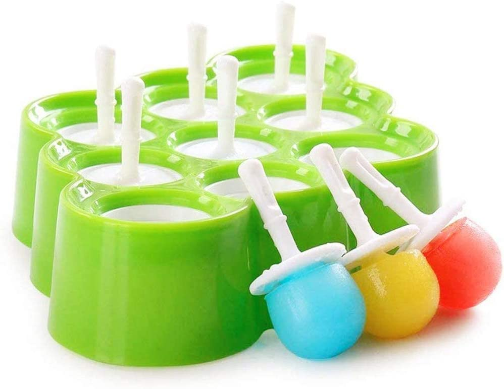 DIYUE Reusable Mini Pop Molds,9 Miniature Popsicle Molds With Sticks and Drip-guards, Easy-Release and BPA-free Silicone, Ice Cream Tray Holders, Family DIY Popsicle Molds, Kitchen Gadget, Green