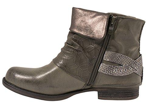 Boots Boots Boots Elara Donna Donna Donna Rivetti pelle in Fibbie stivaletti Prints Grün Biker foderato Sydney sintetica Metallic 446ZwqnaE