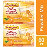 Emergen-C (60 Count, Tangerine Flavor, 2 Month Supply) Dietary Supplement Drink Mix With 1,000mg Vitamin C, 0.33 Ounce Powder Packets, Caffeine Free