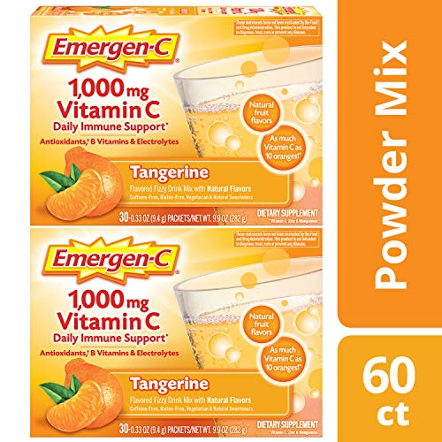 - Emergen-C (60 Count, Tangerine Flavor, 2 Month Supply) Dietary Supplement Drink Mix With 1,000mg Vitamin C, 0.33 Ounce Powder Packets, Caffeine Free