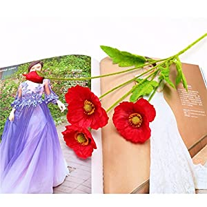 tutu.vivi Real Touch Silk Corn Poppies Decorative Silk Fake Artificial Poppy Flowers for Wedding Holiday Bridal Bouquet Home Party Decor Bridesmaid 5 PCS 36