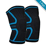 Pacasso Knee Brace Support Compression Sleeves (1 Pair) for Running, Jogging, Sports, Joint Pain Relief, Arthritis and Injury Recovery- Both Women & Men