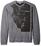 Calvin Klein Jeans Men's Printed Logo Crew Neck Sweatshirt, Charcoal Grindle, Medium