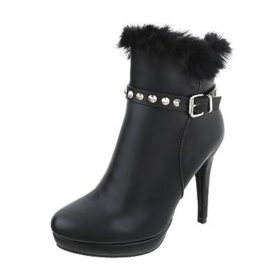 Ital-Design High Heel Stiefeletten Damen-Schuhe High Heel Stiefeletten Pfennig-/Stilettoabsatz High Heels Reißverschluss Stiefeletten Schwarz, Gr 36, 2350-