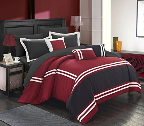 Chic Home Zarah 10 Piece Comforter Set Complete Bed in a Bag Pieced Color Block Banding Bedding with Sheet Set And Decorative Pillows Shams Included, Queen Red Red Queen Comforter