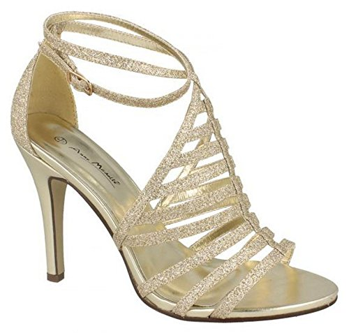 Ann Michelle Ladies Womens New High Stiletto Heel Ankle Strap Evening Sandals Shoes Size 3-8 Gold OO7N0nVjF
