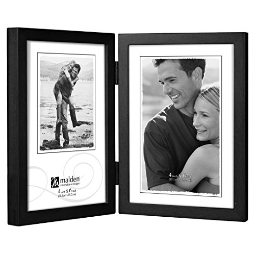 Malden International Designs Black Concept Wood Picture Frame, Double Vertical, 2-4x6, Black