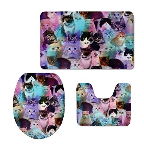 CHAQLIN Galaxy Kitten Cat Puzzle Bathroom Carpet Rug Non-Slip 3 Piece Bath Mat Set Water Absorbent