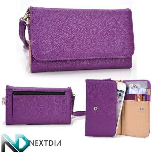 Smart Phone Case Wallet for Plum Trigger [ Purple ] Stylish Clutch and Wristlet holds phone and cards! NextDia ™ Velcro Cable Strap