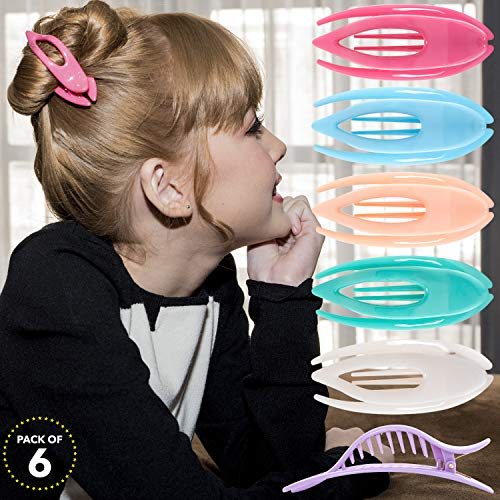 - RC ROCHE ORNAMENT Womens French Concord Curved Hair Clip No Slip Strong Grip Comfortable Hold Girls Ladies Beauty Accessory Pin Teeth Clamp, 6 Pack Count Small Pastel Multicolor