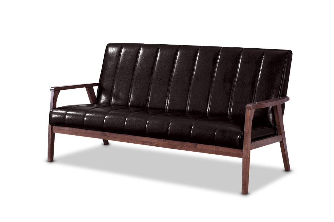 Baxton Furniture Studios Mid-Century Modern Scandinavian Style Faux 3 Seater Leather Wooden Sofa, Dark Brown by Baxton Studio
