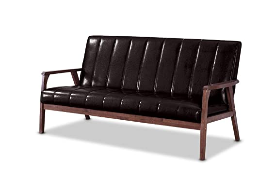 Perfect photos of Baxton BBT8011A2-Brown Sofa taken last month