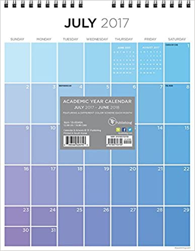 2018 Academic Year For the Love of Color Monthly Grid Wall Calendar